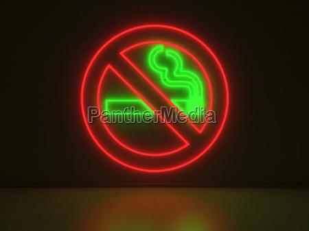 no smoking sign series neon