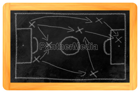 football tactics chalk on blackboard
