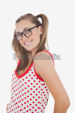 happy young woman in ponytails