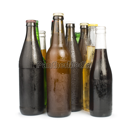 group of beer bottles isolated studio