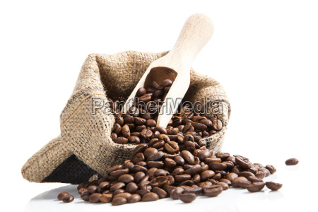 coffee beans in bag with wooden