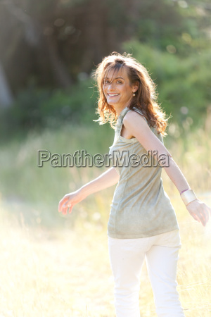 adult happy woman laughing in the