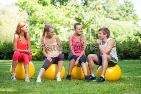 young caucasians working out in a