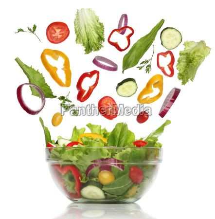 falling fresh vegetables healthy salad