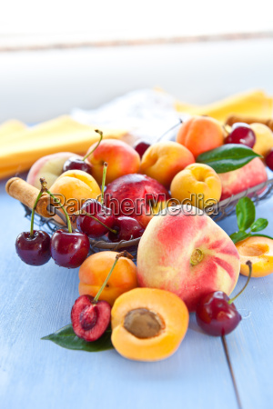 various types of peach in a