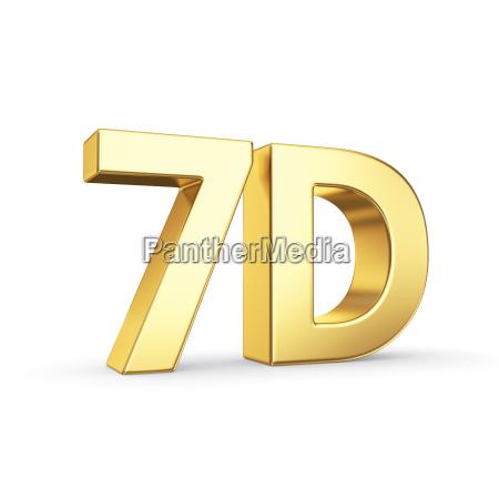 golden 7d symbol isolated on white
