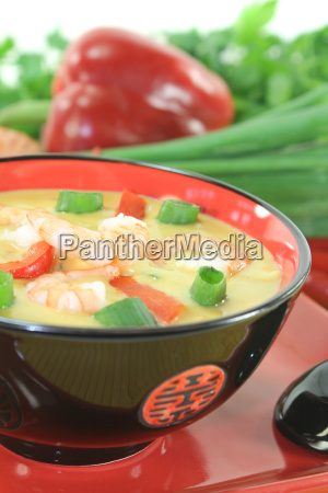 curry soup with prawns and chilli