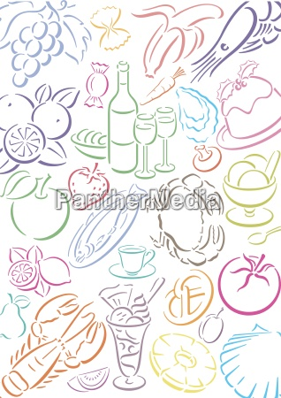 background with colored food symbols