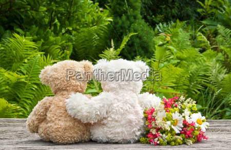 flowers red green teddy bear teddy