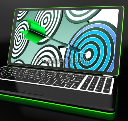 target hit on laptop showing online