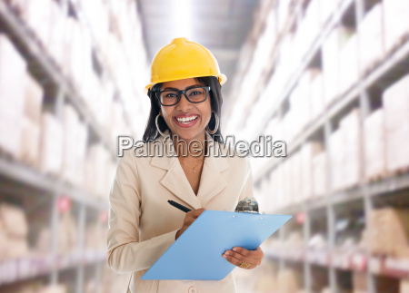 indian woman in warehouse