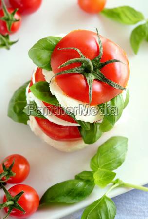 tomato and mozzarella snack