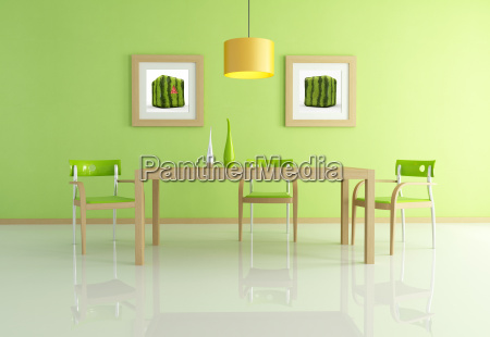 contemporary green dining room