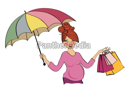 happy pregnant woman at shopping isolated