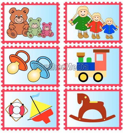 brands with childrens toys isolated