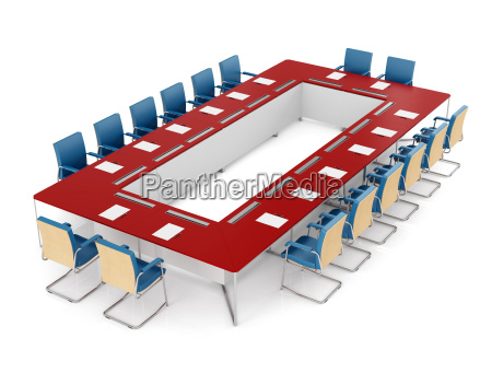 red and blue meeting table and