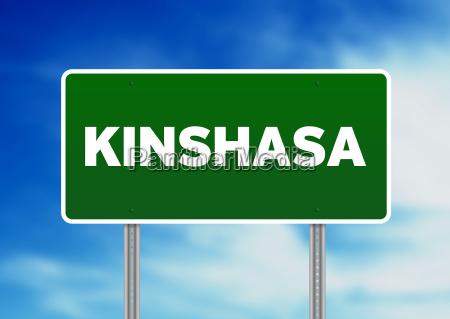 green road sign kinshasa
