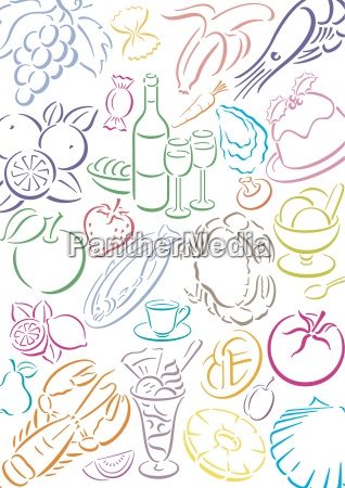 background with food symbols indemnified