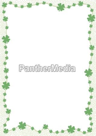 edge of green shamrocks isolated
