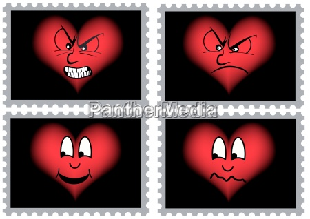 brands with hearts with various facial