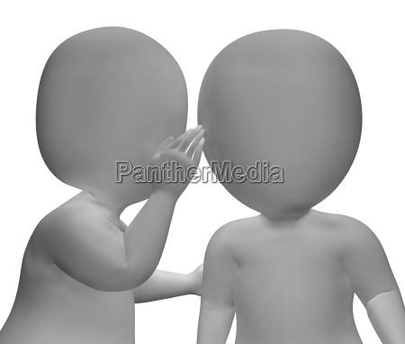 whispering gossip 3d characters having secrets