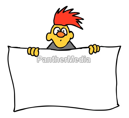 cartoon character with blank sign