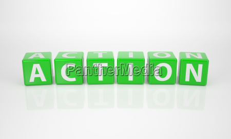 action out of green letter dices