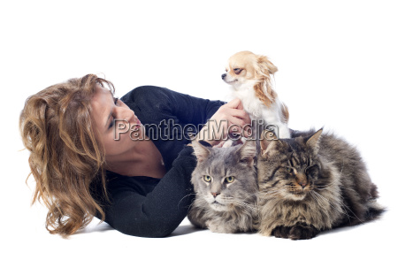 woman and pet