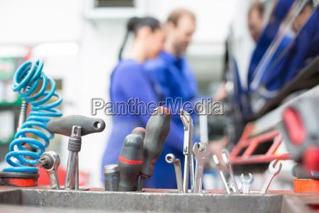 tools in a car workshop