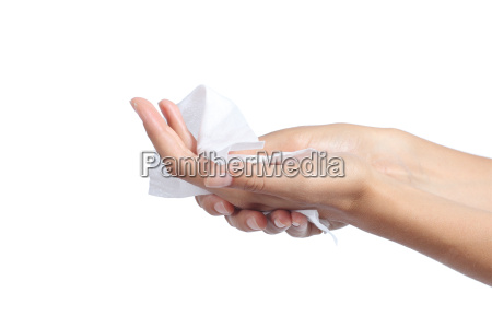 woman cleaning her hands with a
