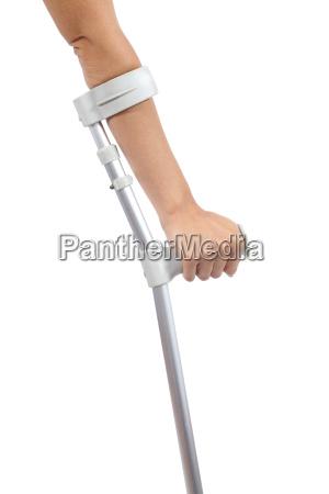 woman hand using a crutch