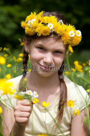 girl with flowers in the hair