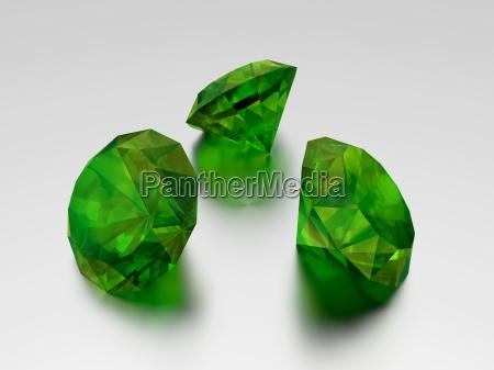 3d emerald 3 green gems