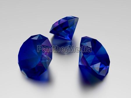3d sapphire 3 blue gems