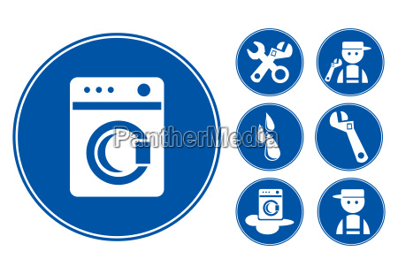 blue washing machine icons set