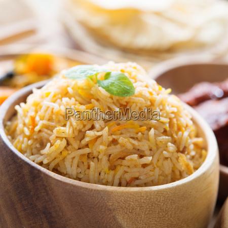 close up indian food biryani rice