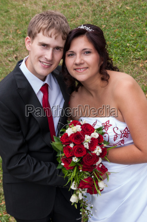 newlyweds in the green