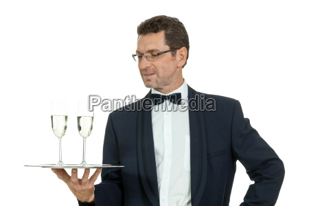 waiter serving champagne isolated adult champagne