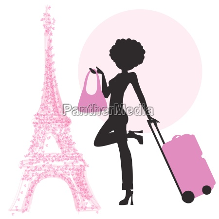 young woman with suitcase in