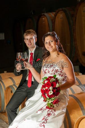 newlyweds at the wine tasting