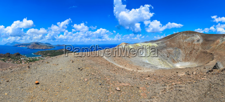 panoramic view of volcano crater and