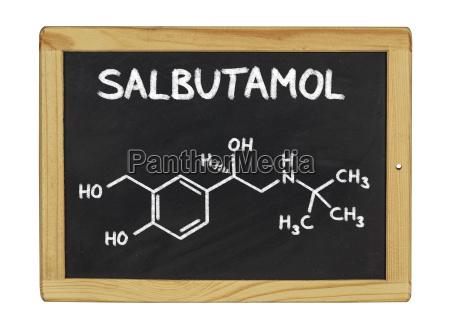 chemical structural formula of salbutamol on