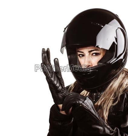 woman wearing motorsport outfit