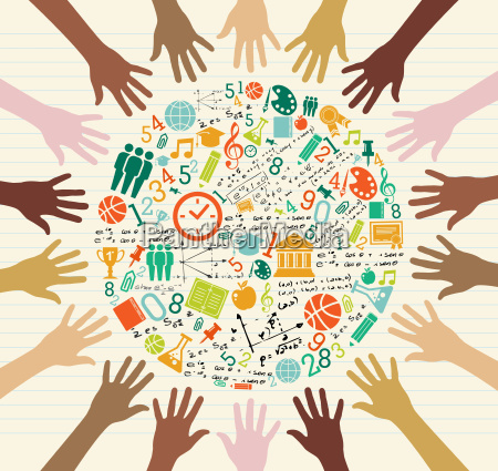 education global icons human hands
