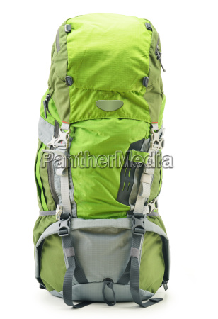 large green touristic backpack isolated on