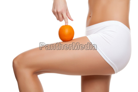 woman with an orange showing a