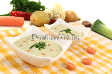 freshly cooked cream of vegetable soup