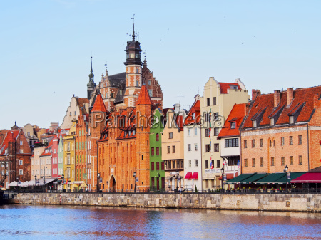 gdansk cityscape and moltawa river in