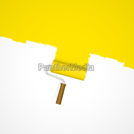 background paint roller repainting yellow