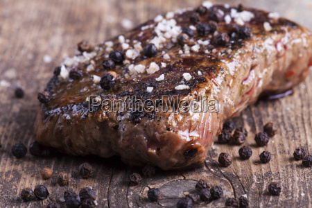 grilled steak with basil salt and
